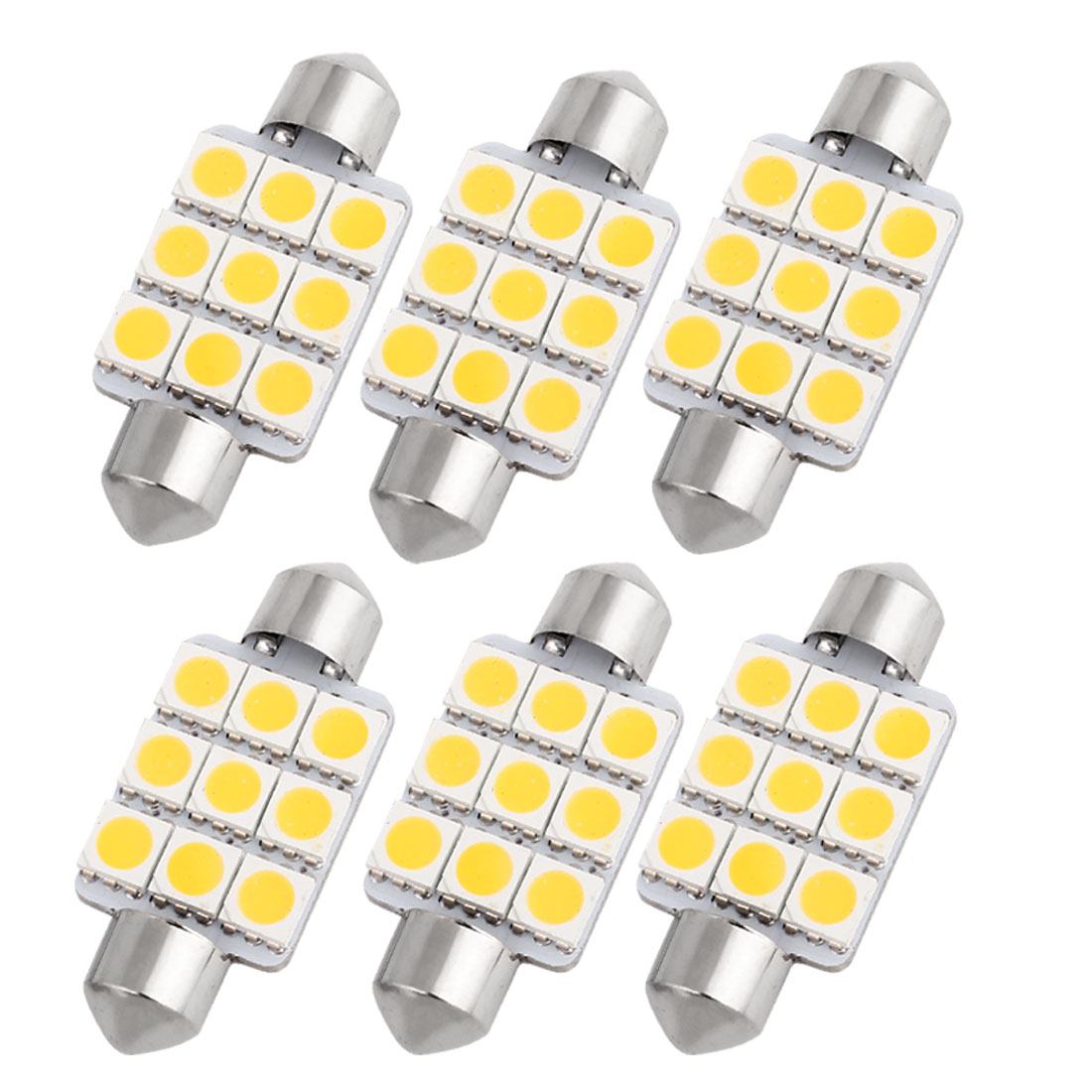 "6 Pcs 39mm 1.54"" 5050 SMD 9-LED Warm White Festoon Dome Light Bulb DE3425 DE3423 Internal"