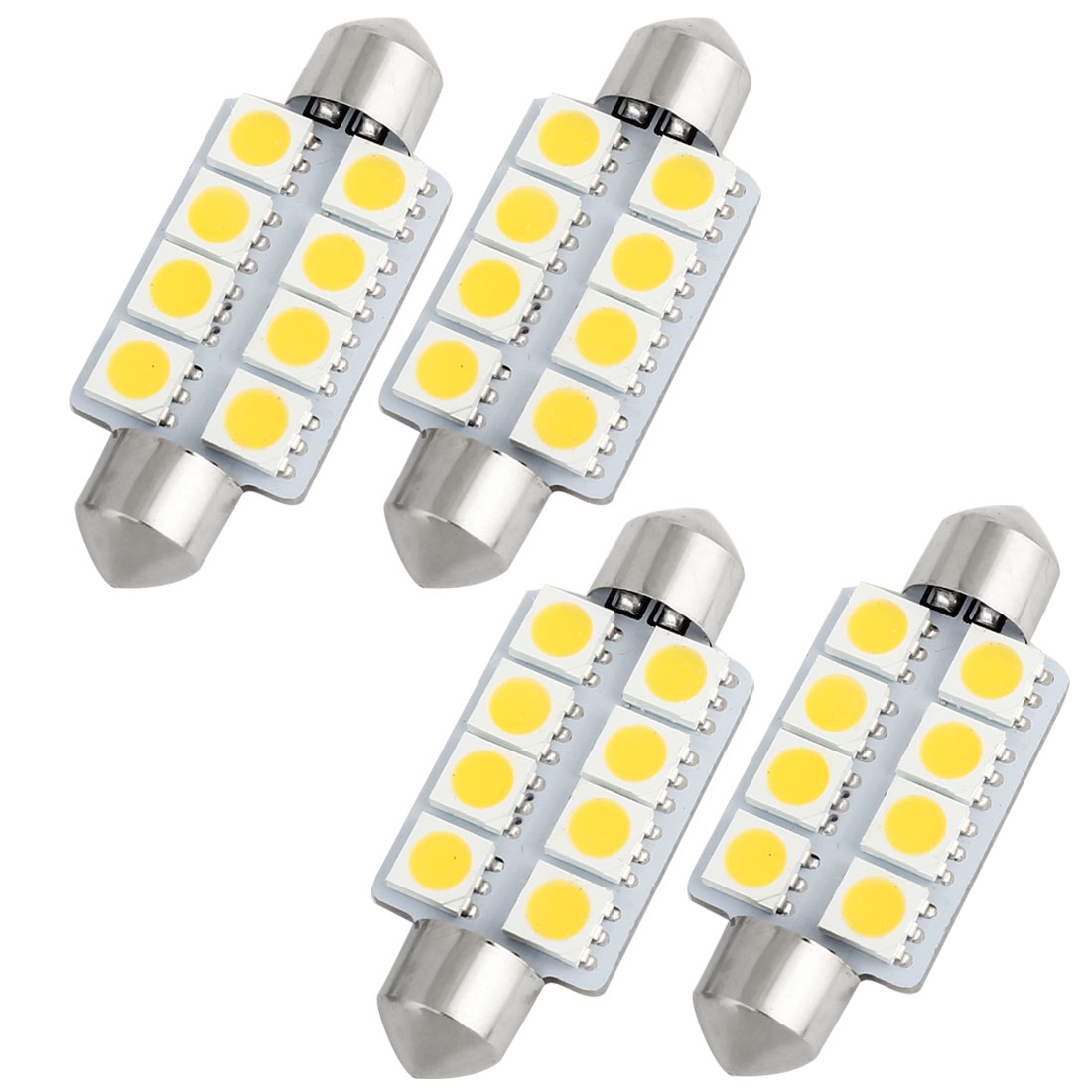 4pcs 41mm 5050 SMD 8-LED Festoon Dome Light Warm White 6413 211-2 212-2 560 Internal