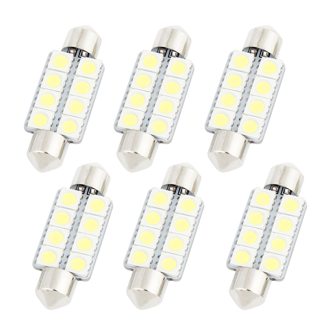 6pcs 39mm 5050 8-SMD White LED Festoon Map Light DE3423 DE3425 6418 C5W Internal