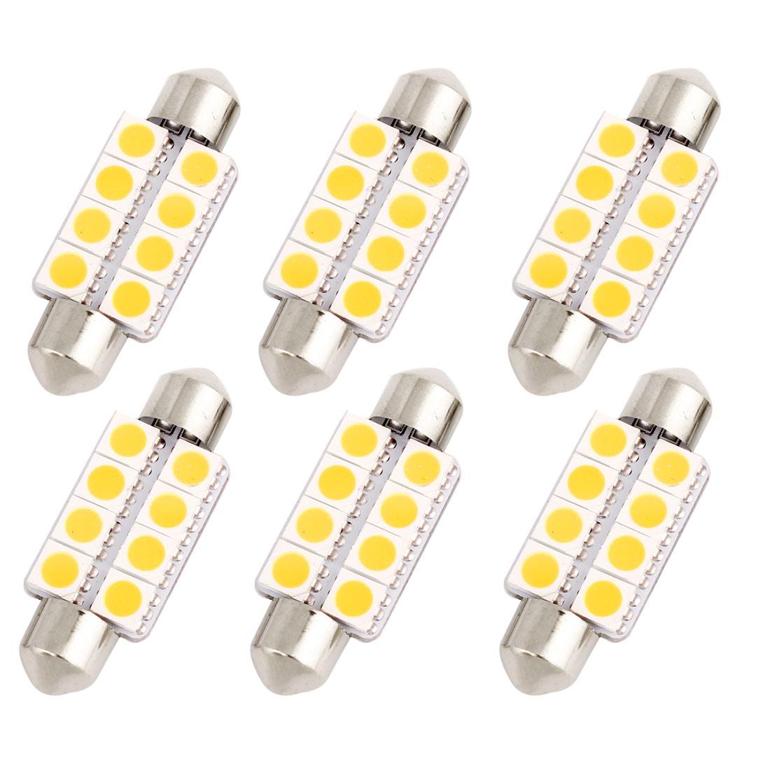 "6 Pcs 39mm 1.54"" 5050 SMD 8-LED Warm White Festoon Dome Light Bulb DE3425 DE3423 Internal"