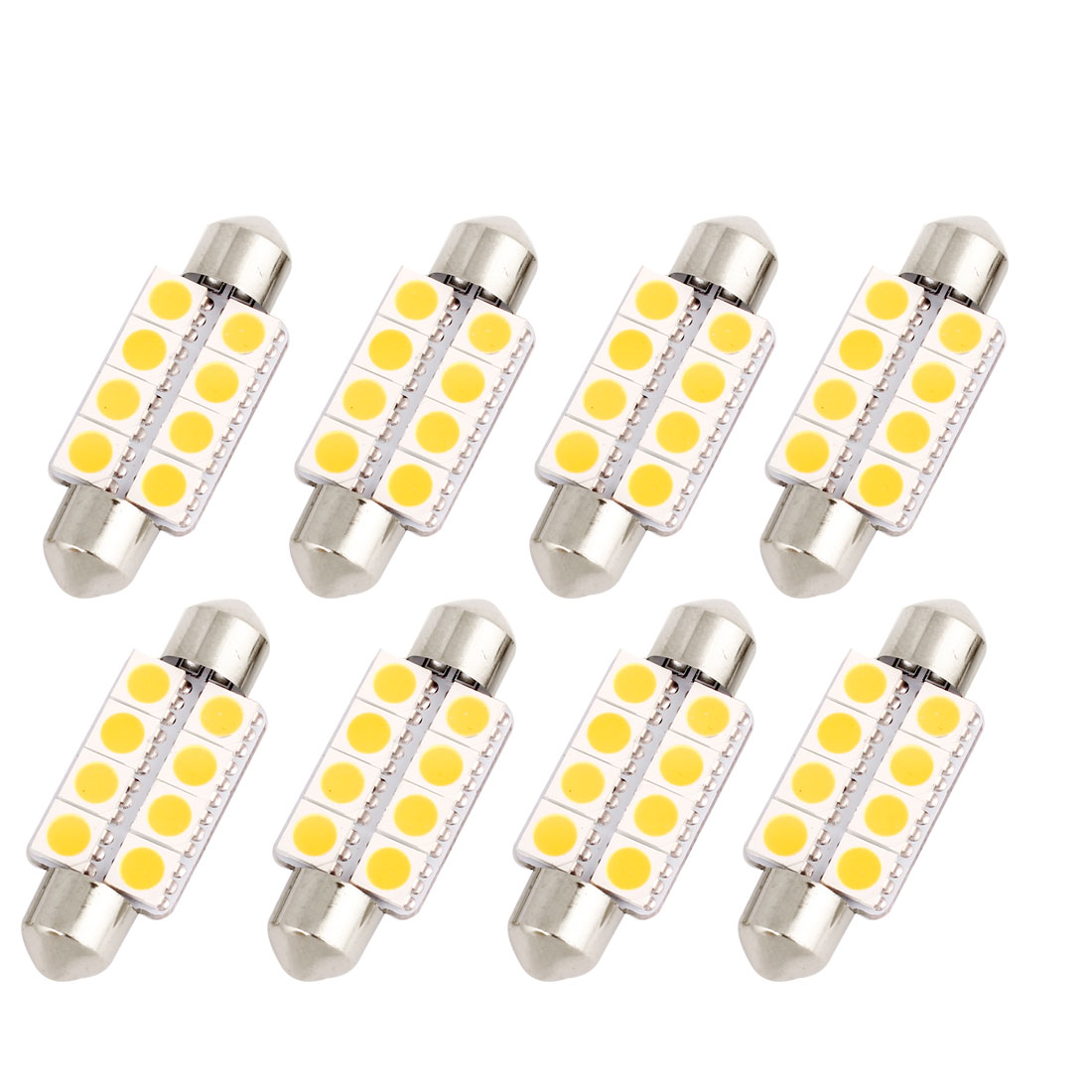 8pcs 39mm 5050 8-SMD Warm White LED Festoon Map Light 6411 6413 C5W Internal