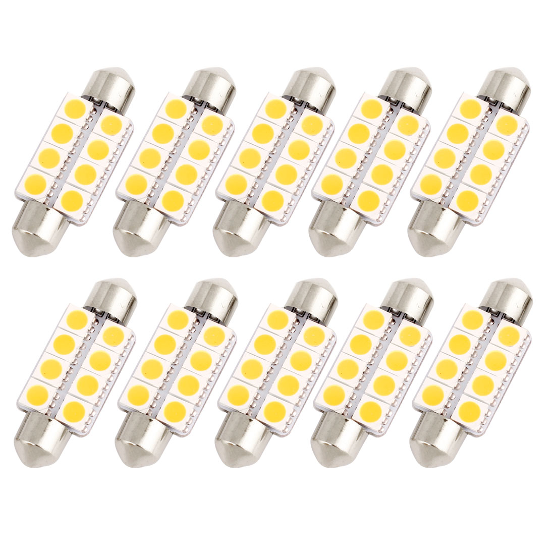 "10 Pcs 39mm 1.54"" 5050 SMD 8-LED Warm White Festoon Dome Light Bulb DE3425 DE3423 Internal"