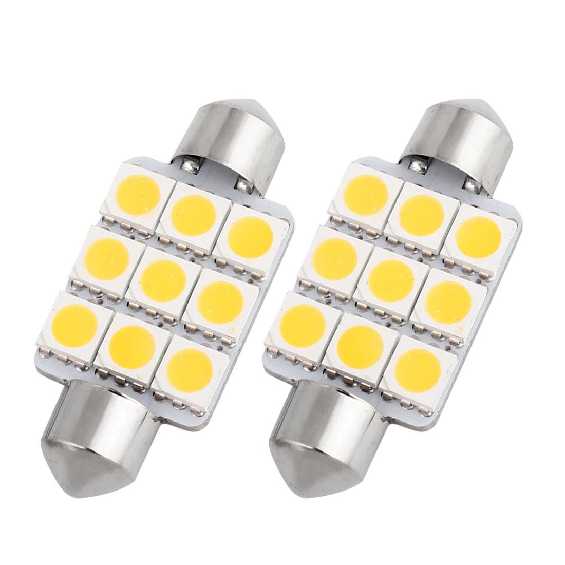 "2 Pcs 39mm 1.54"" 5050 SMD 9-LED Warm White Festoon Dome Light Bulb DE3425 DE3423 Internal"