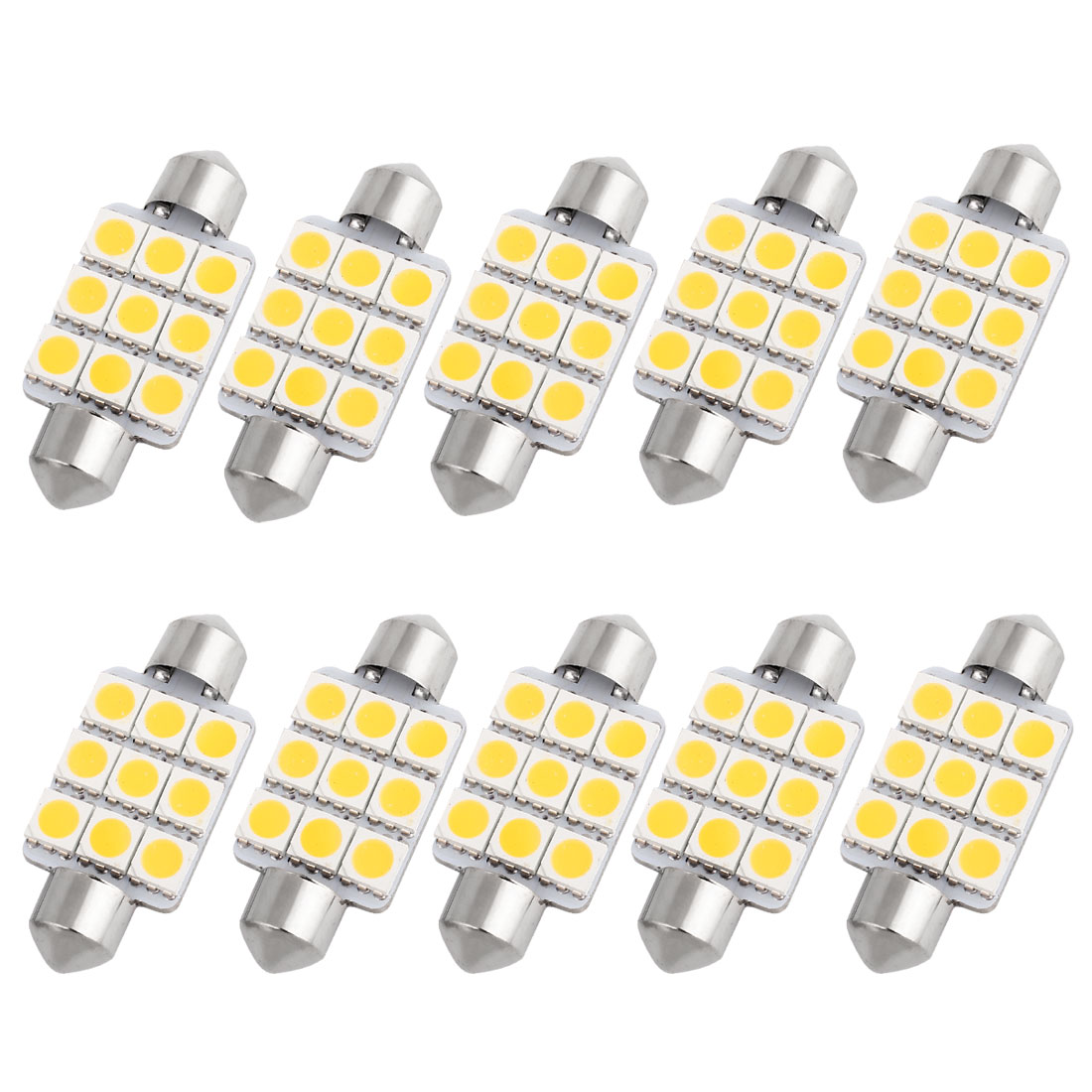 "10 Pcs 39mm 1.54"" 5050 SMD 9-LED Warm White Festoon Dome Light Bulb DE3425 DE3423 Internal"