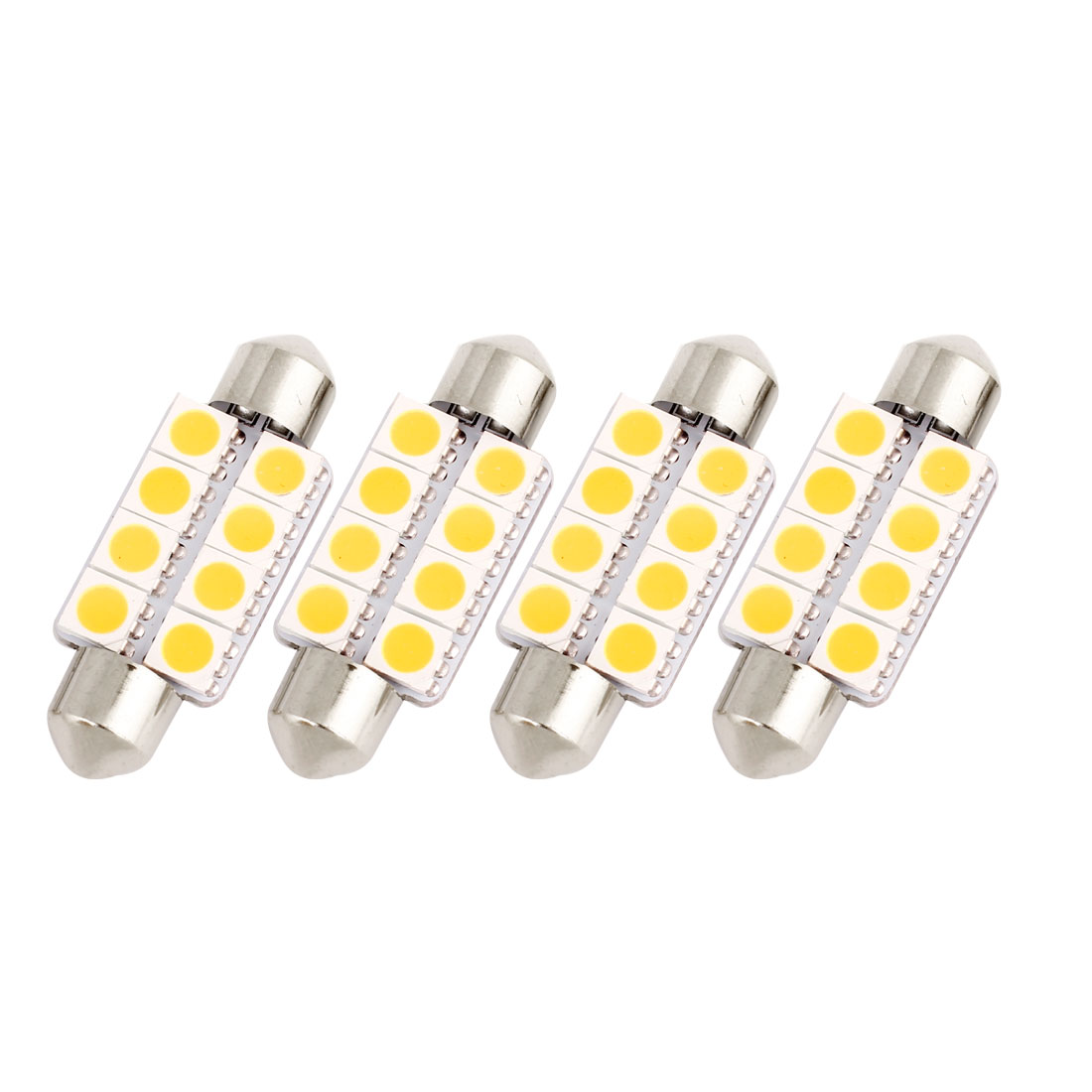 "4Pcs 39mm 1.54"" 5050 SMD 8-LED Warm White Festoon Dome Light Bulb DE3425 DE3423 Internal"