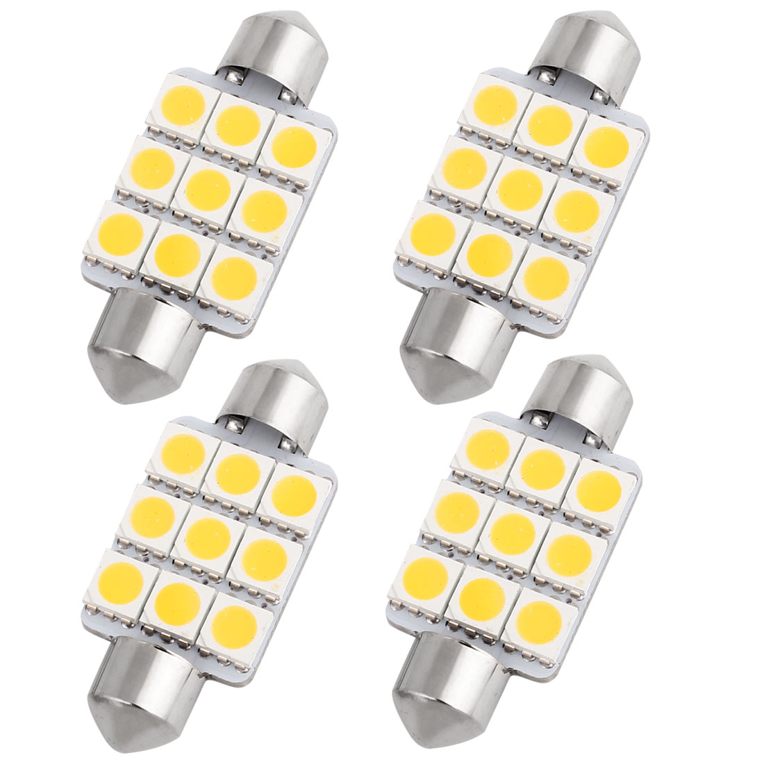 "4 Pcs 39mm 1.54"" 5050 SMD 9-LED Warm White Festoon Dome Light Bulb DE3425 DE3423 Internal"