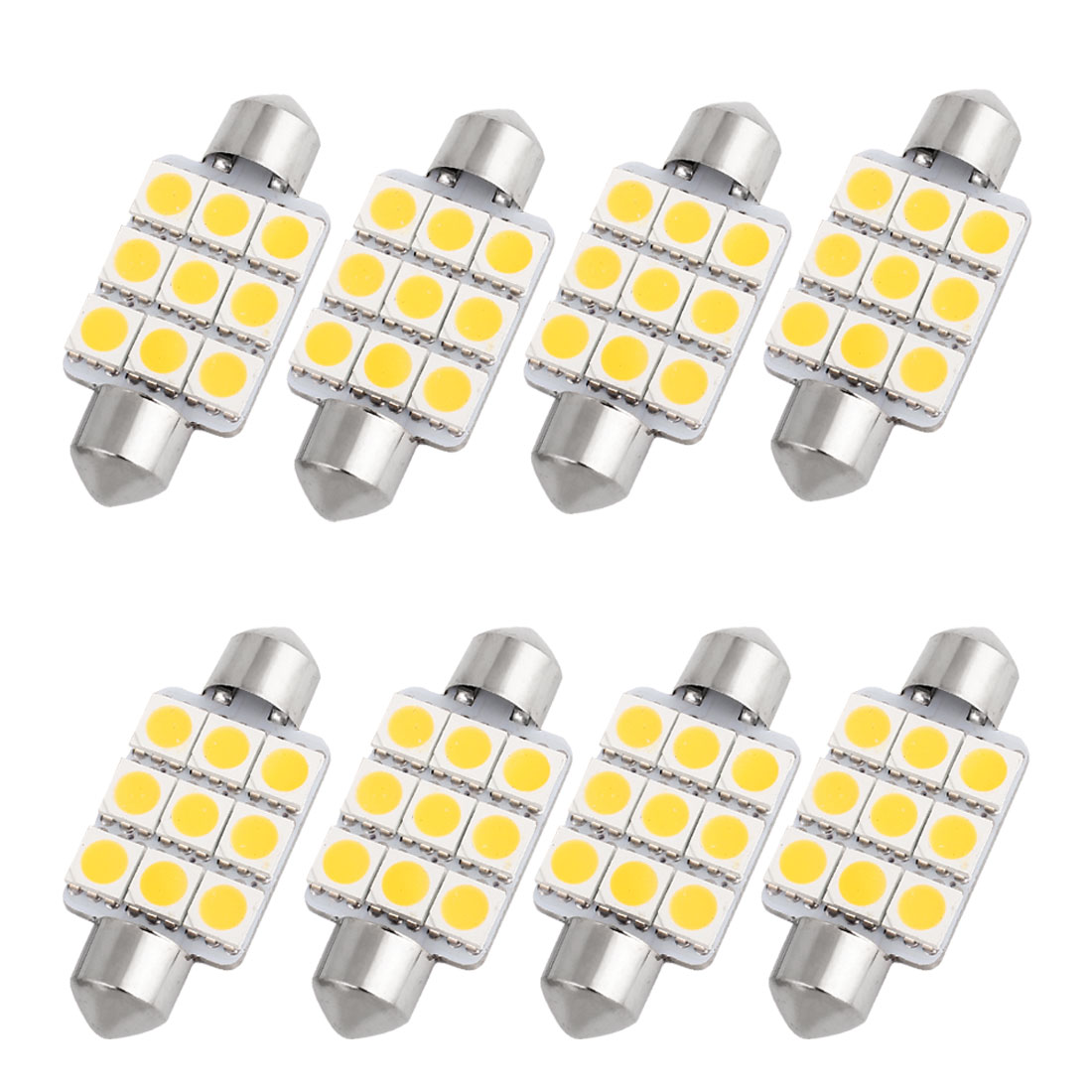 8PCS Warm White 9-SMD 5050 LED 39mm Festoon Map Light 6423 6461 6418 Internal