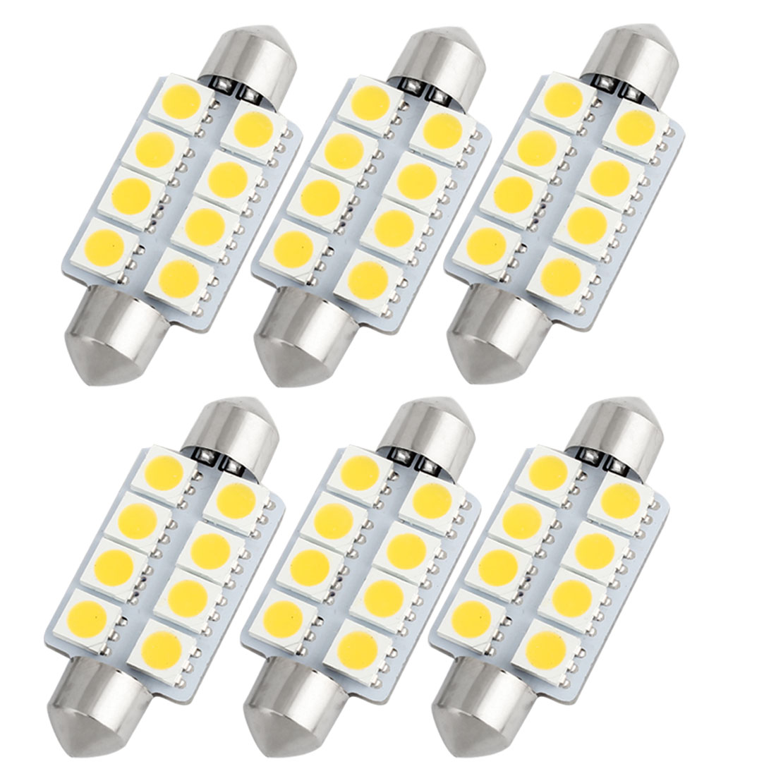 6Pcs 41mm 8-SMD 5050 LED Warm White DC 12V Festoon Dome Light 578 6429 Internal