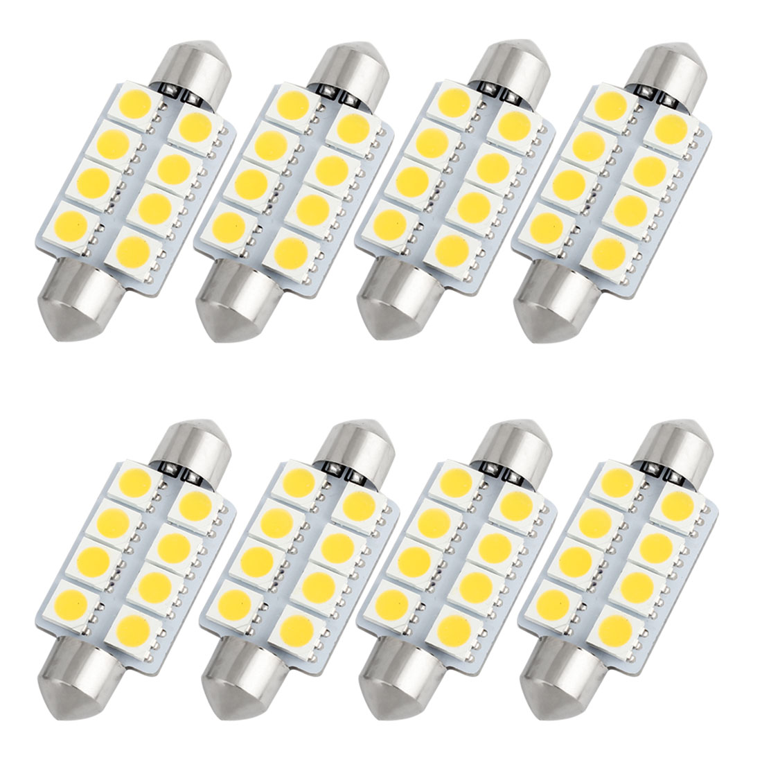 8pcs 41mm 5050 SMD 8-LED Festoon Dome Light Warm White 6413 211-2 212-2 560 Internal