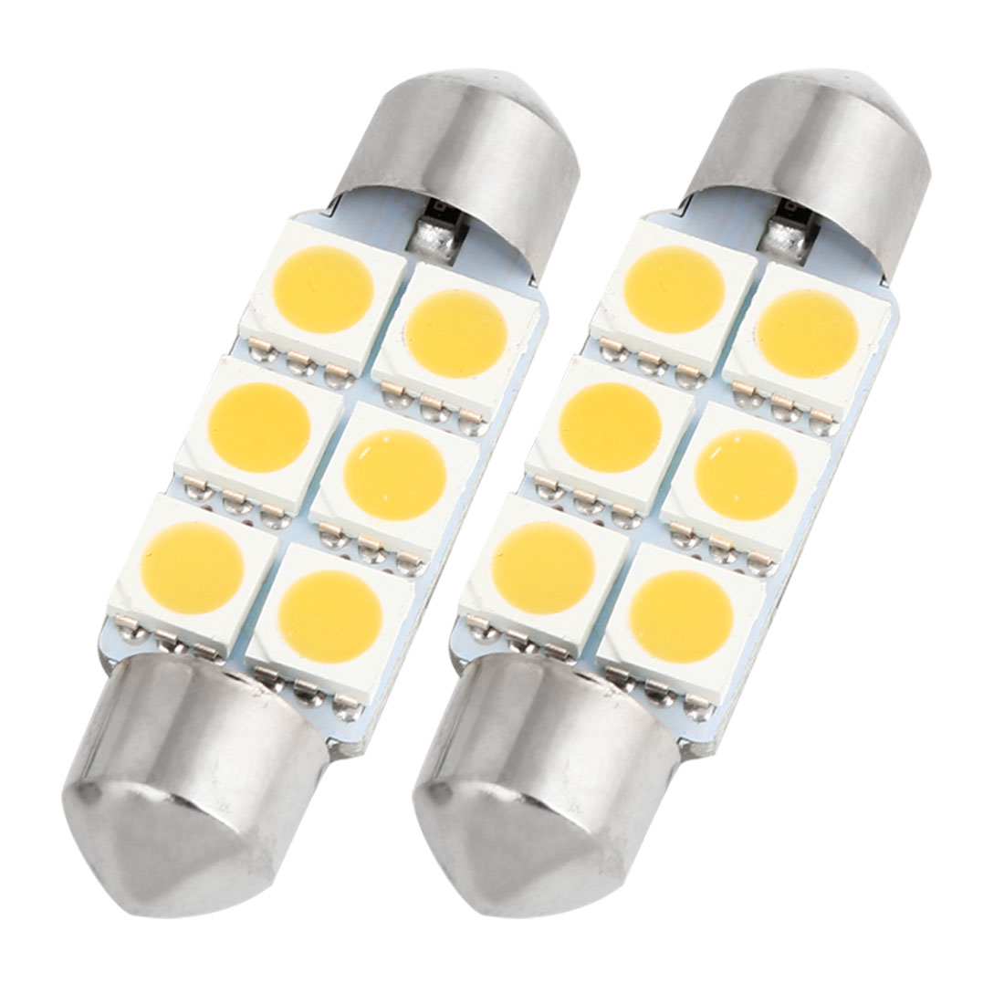 "2PCS Warm White 5050 SMD 6 LEDs 1.54"" 39mm Festoon Dome Lights 6418 DE3423 Internal"