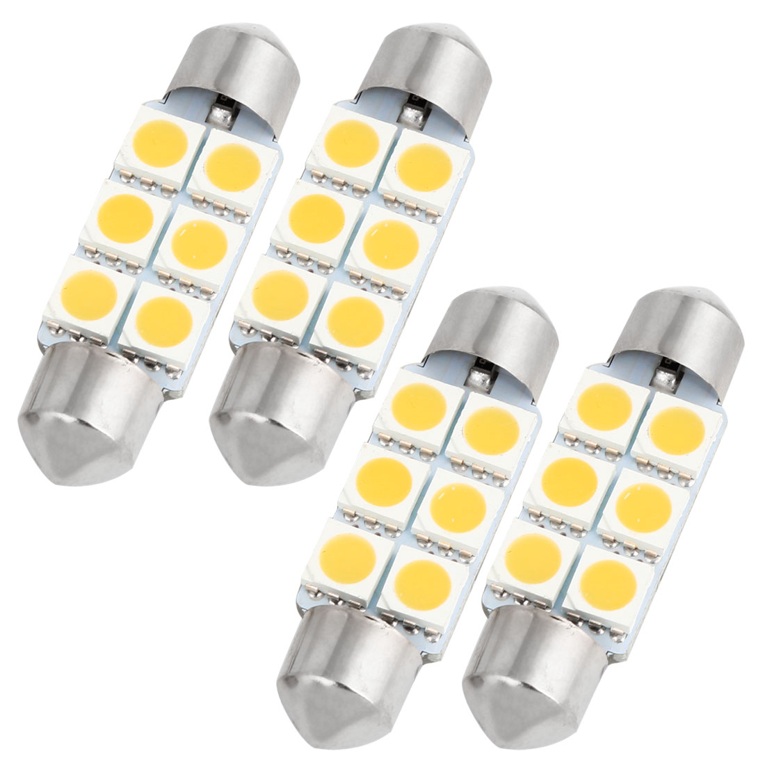 "4PCS Warm White 5050 SMD 6 LEDs 1.54"" 39mm Festoon Dome Lights 6418 DE3423 Internal"