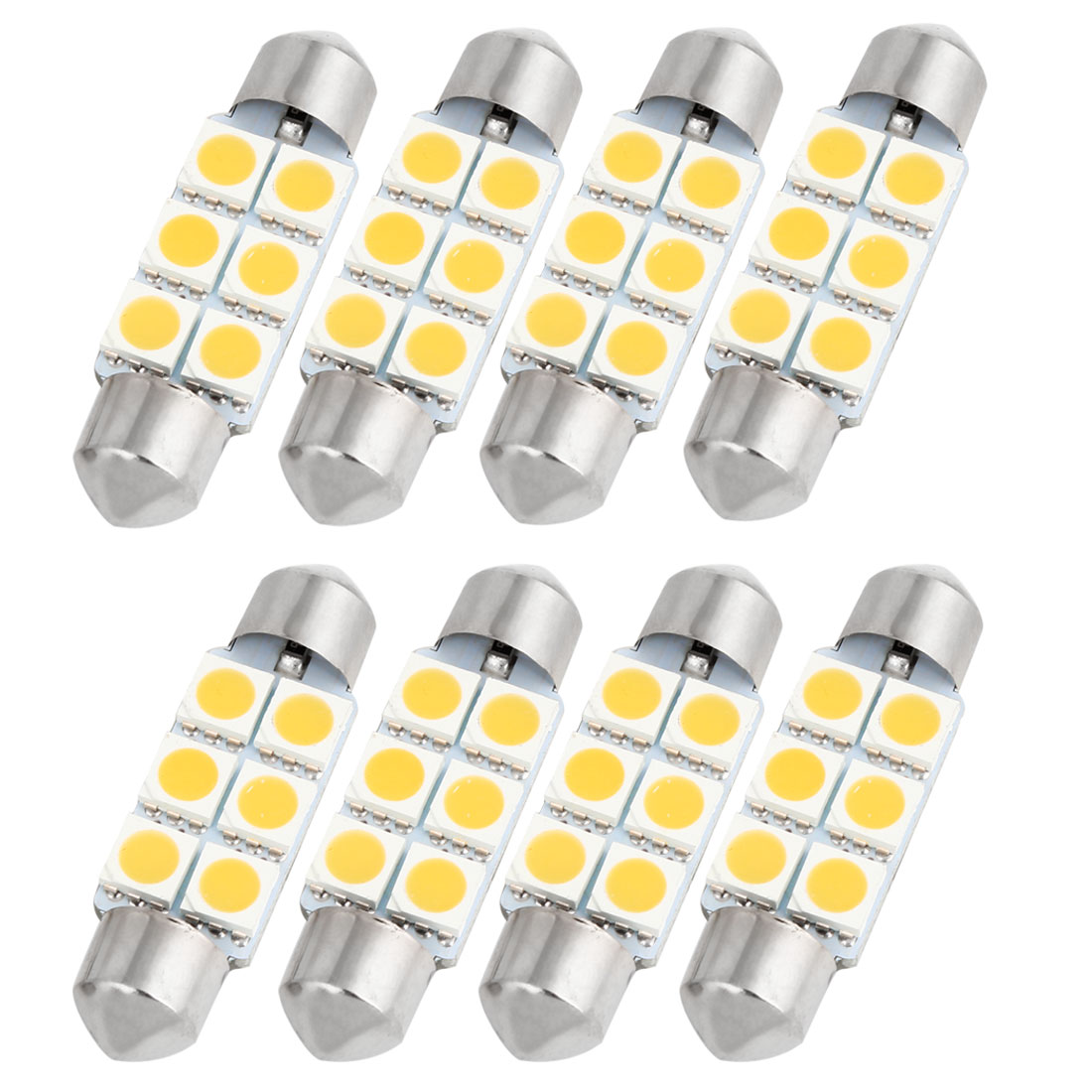 "8PCS Warm White 5050 SMD 6 LEDs 1.54"" 39mm Festoon Dome Lights 6418 DE3423 Internal"
