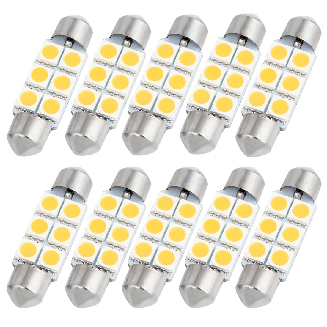 "10PCS Warm White 5050 SMD 6 LEDs 1.54"" 39mm Festoon Dome Lights 6418 DE3423 Internal"