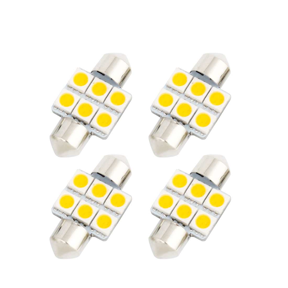 4Pcs 31mm 5050 SMD 6 LED Warm White Festoon Dome Map Reading Light DE3175 DE3022 DE3021 Internal