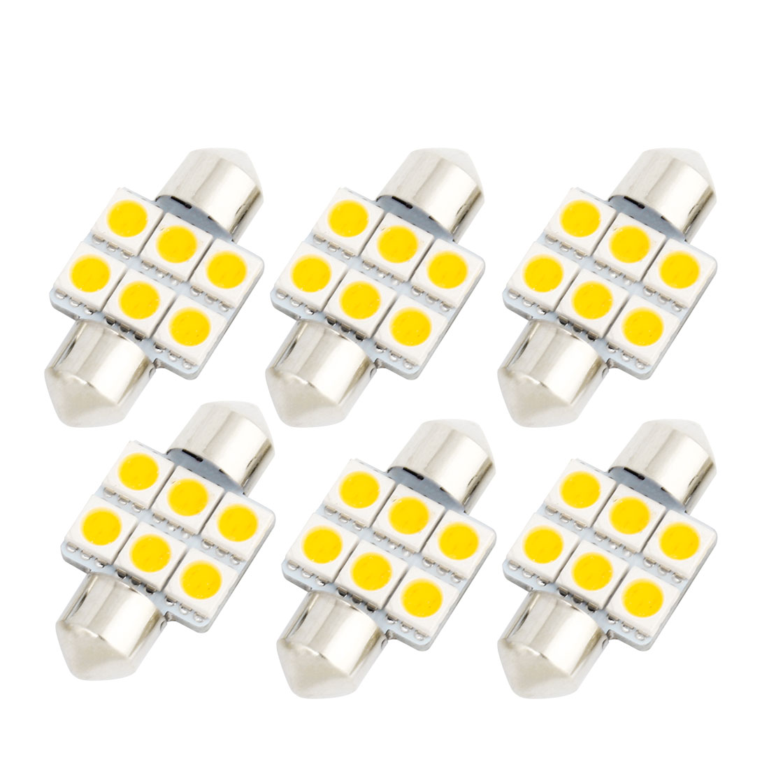 6Pcs 31mm 5050 SMD 6 LED Warm White Festoon Dome Map Reading Light DE3175 DE3022 DE3021 Internal