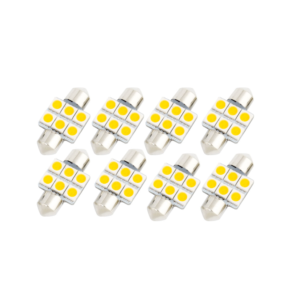 8 Pcs 31mm 5050 SMD 6 LED Warm White Festoon Dome Map Reading Light DE3175 DE3022 DE3021 Internal