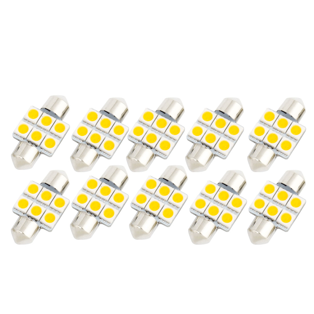 10Pcs 31mm 5050 SMD 6 LED Warm White Festoon Dome Map Reading Light DE3175 DE3022 DE3021 Internal