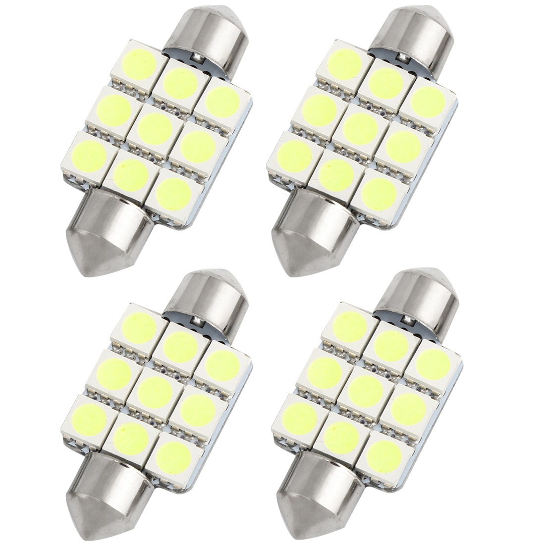 4pcs 36mm White 9 LED 5050 SMD Festoon Dome Light Lamp 6418 DE3423 DE3425 Internal