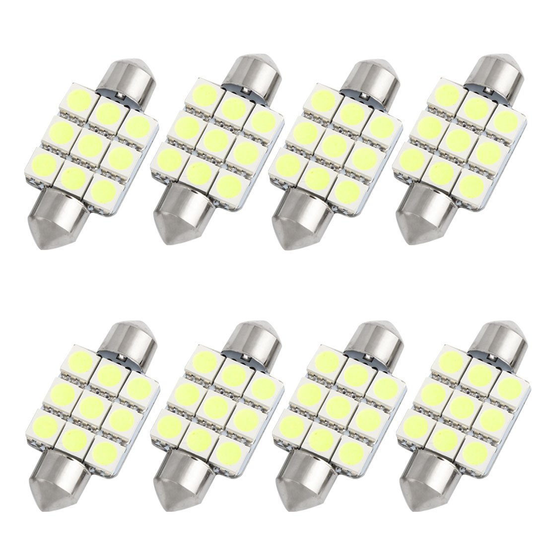 8pcs 36mm White 9 LED 5050 SMD Festoon Dome Light Lamp DC 12V DE3423 DE3425 Internal
