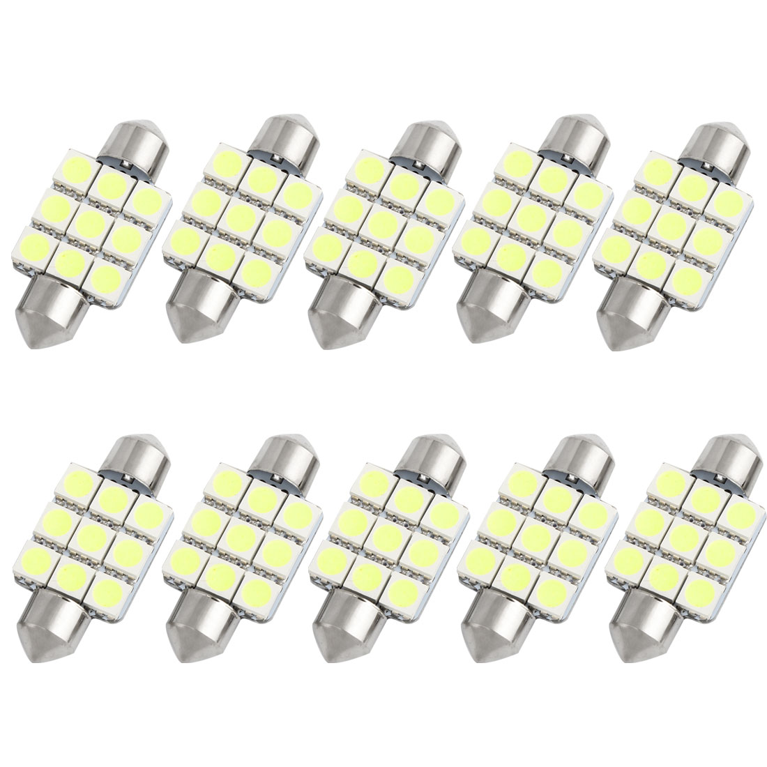 10pcs 36mm White 9 LED 5050 SMD Festoon Dome Light Lamp DE3423 DE3425 Internal
