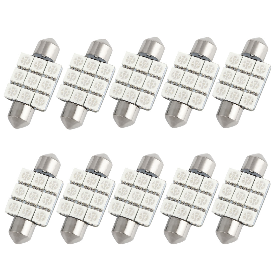 10pcs 36mm Blue 9 LED 5050 SMD Festoon Dome Light Lamp DC 12V 6418 6413 Internal
