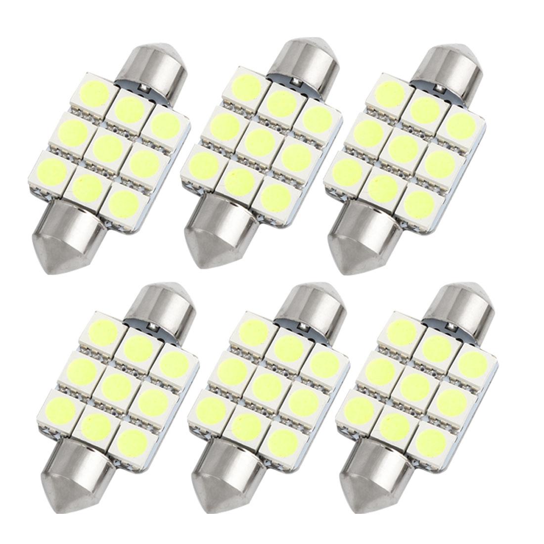 6pcs 36mm White 9 LED 5050 SMD Festoon Dome Light Lamp DE3423 DE3425 Internal