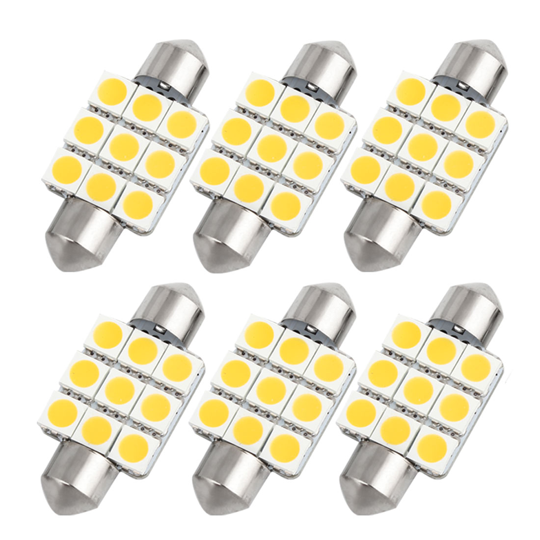 6pcs 36mm Warm White 9 LED 5050 SMD Festoon Dome Light Lamp DC 12V 6418 6413 Internal