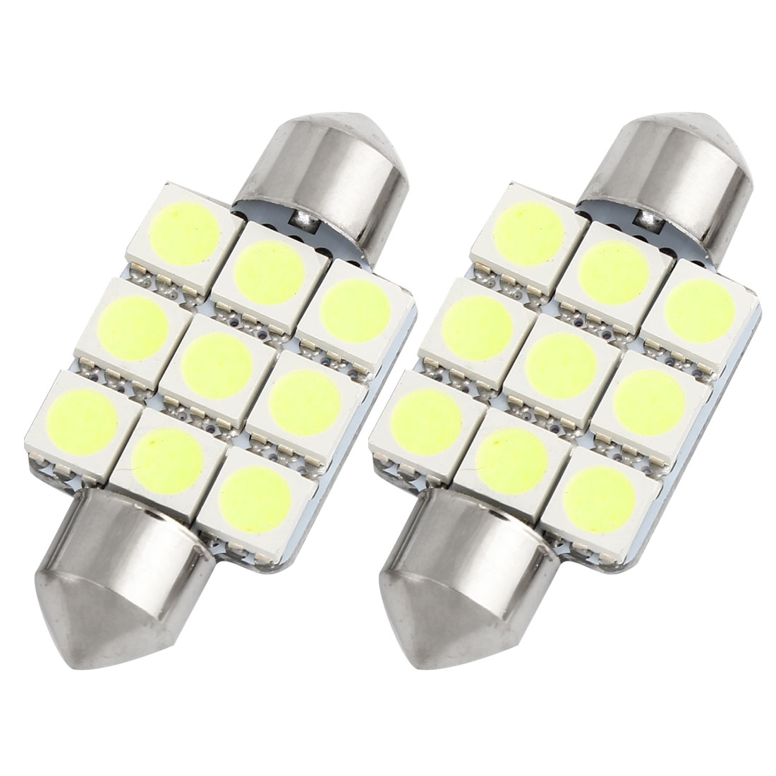 2 pcs 36mm White 9 LED 5050 SMD Festoon Dome Light Lamp DC 12V 6418 6413 Internal