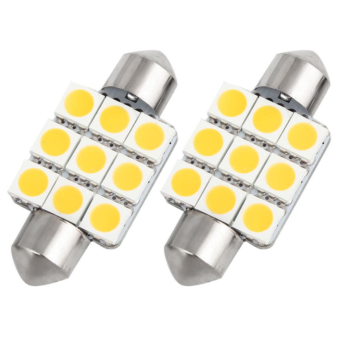 2 pcs 36mm Warm White 9 LED 5050 SMD Festoon Dome Light Lamp DC 12V 3021 DE3021 Internal