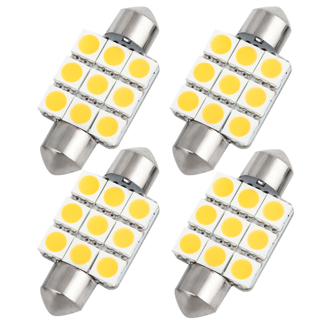 4pcs 36mm Warm White 9 LED 5050 SMD Festoon Dome Light Lamp DC 12V 6418 6413 Internal