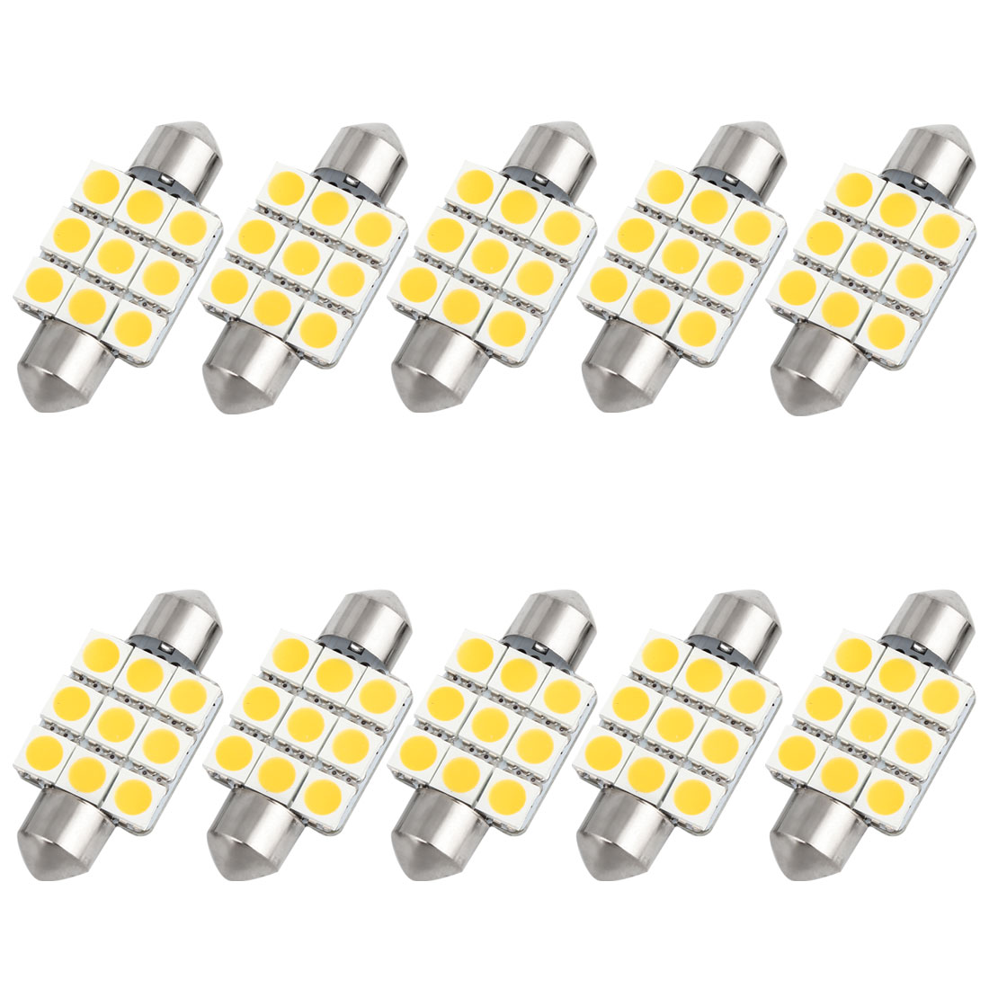 10pcs 36mm Warm White 9 LED 5050 SMD Festoon Dome Light Lamp DC 12V 6418 6413 Internal