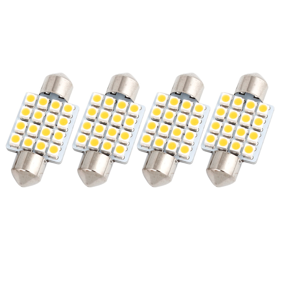 "4 Pcs 36mm 1.5"" 16LED 1210 SMD Warm White Festoon Dome Map Light DE3021 Internal"