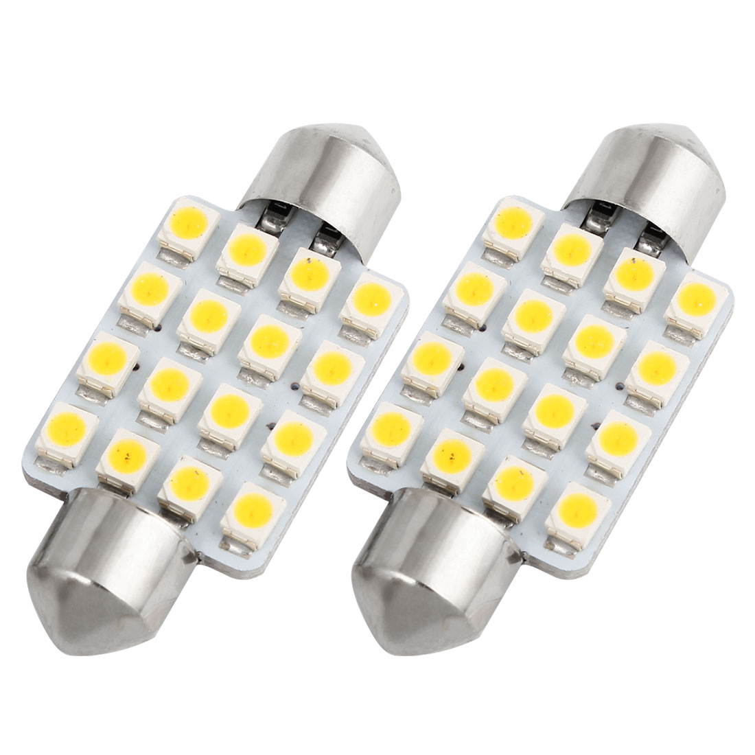 2PCS 1210 LED 16-SMD 39mm Warm White Festoon Dome Light 6423 6461 6418 Internal