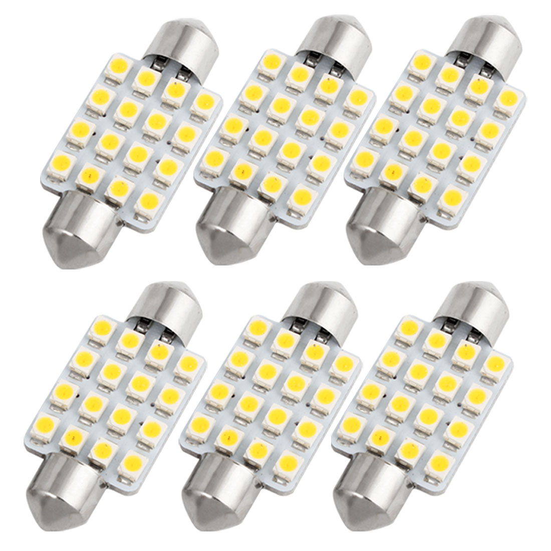 6pcs 39mm 3528 SMD 16LED Warm White Festoon Dome Light Bulb DE3423 C5W Internal