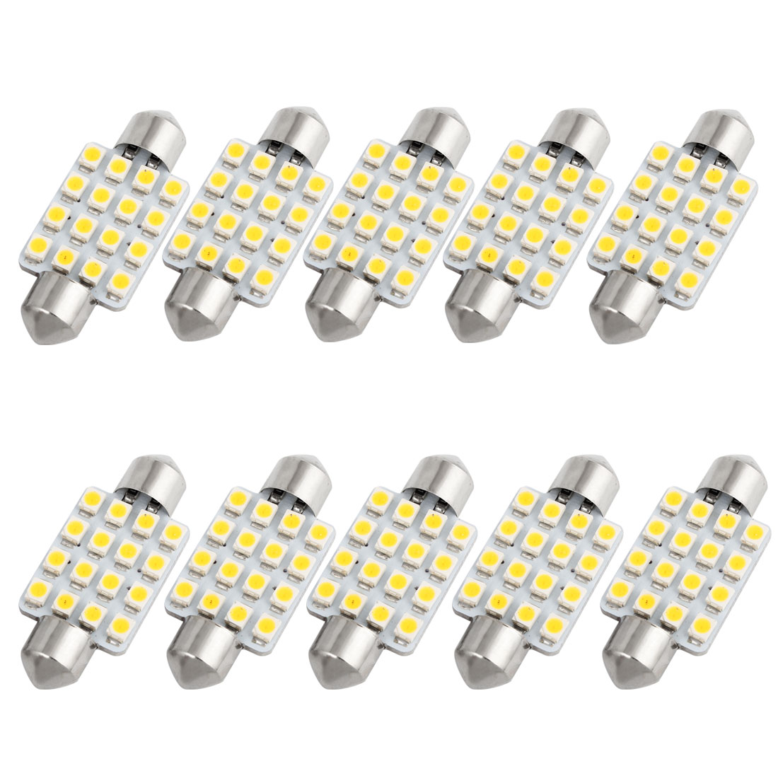 10PCS 1210 LED 16-SMD 39mm Warm White Festoon Dome Light 6423 6461 6418 Internal