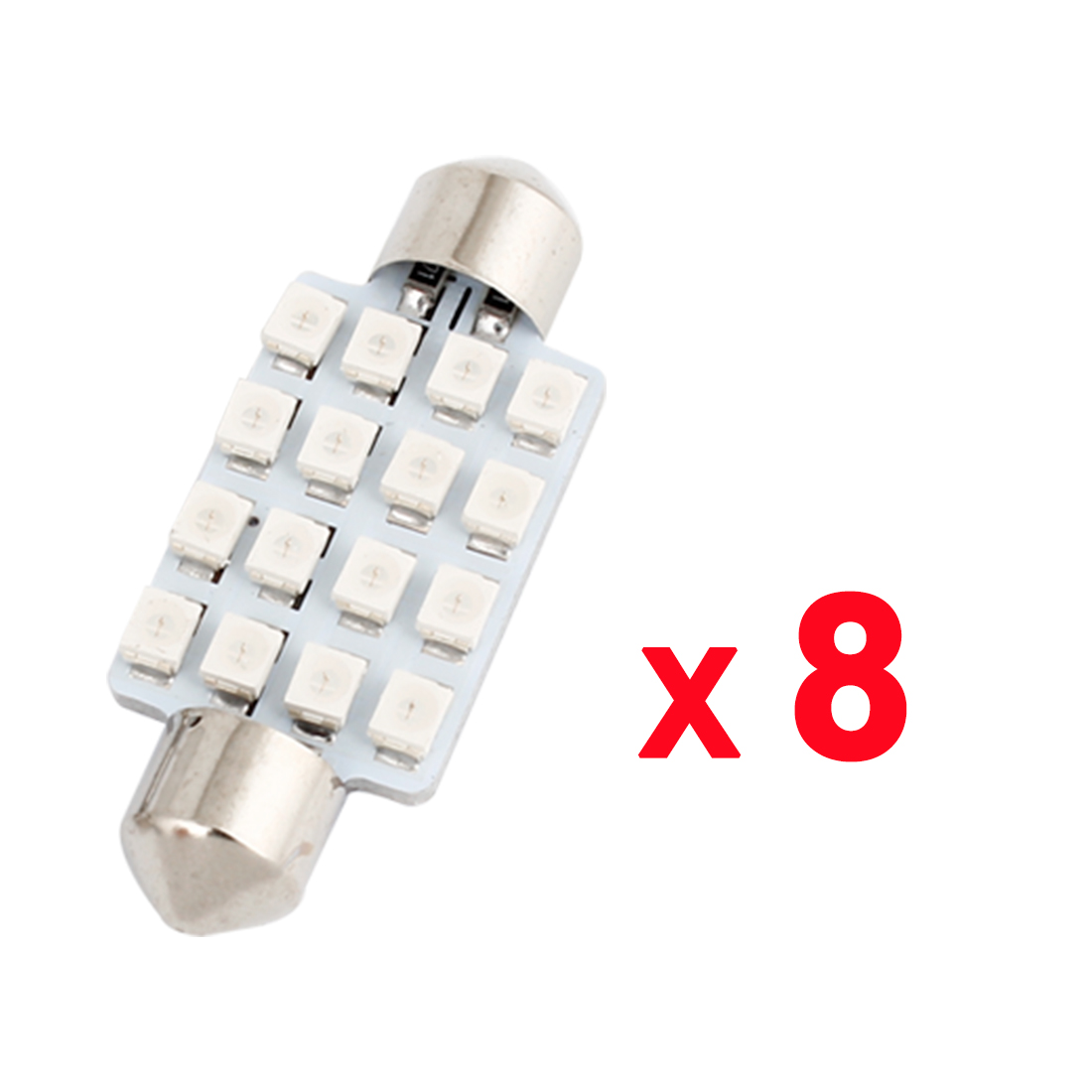 8 Pcs 16LED 3528 SMD 41mm Blue Festoon Dome Map Reading Light 6413 6429 Internal