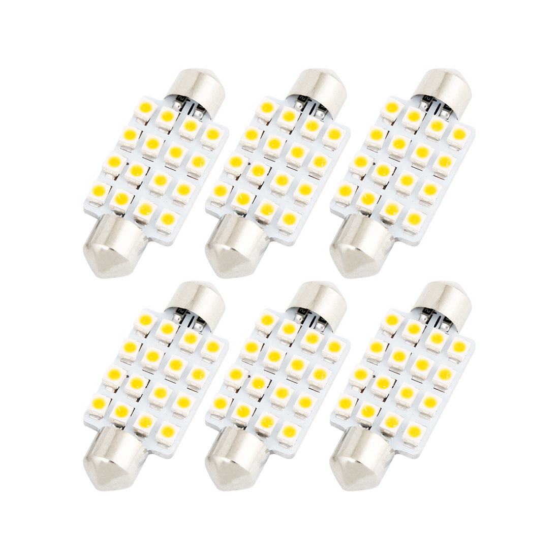 6 Pcs 16-LED Warm White 1210 SMD 42mm Festoon Dome Light 212-2 6429 Internal