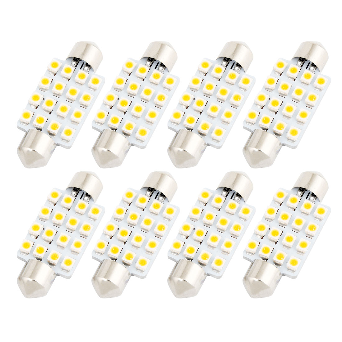 8PCS 42mm 16-SMD 1210 LED Warm White Festoon Dome Map Light 211-2 212-2 Internal