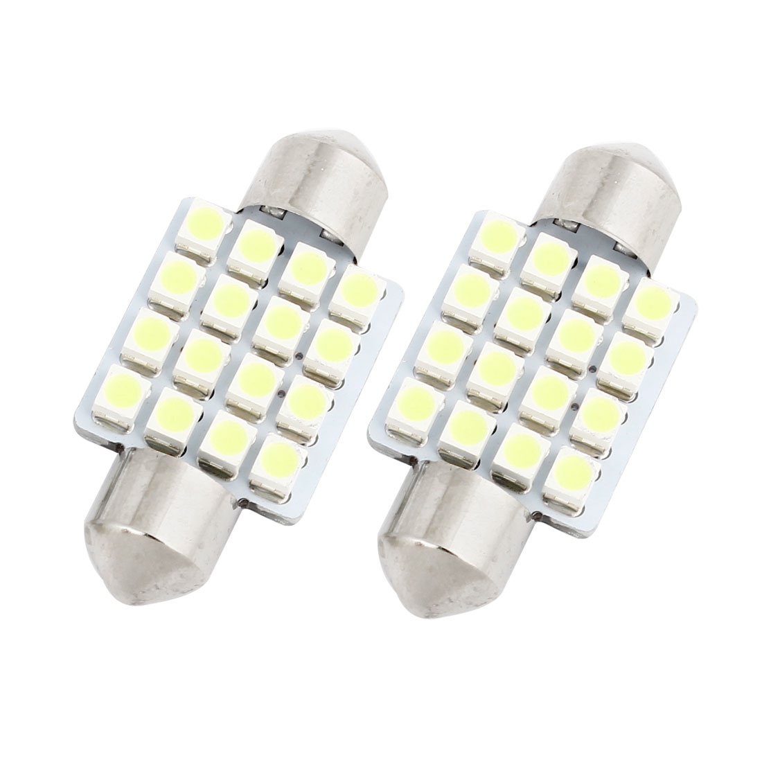 "2 Pcs 36mm 1.5"" 16-SMD 1210 White LED Festoon Dome Light DE3423 6418 Internal"