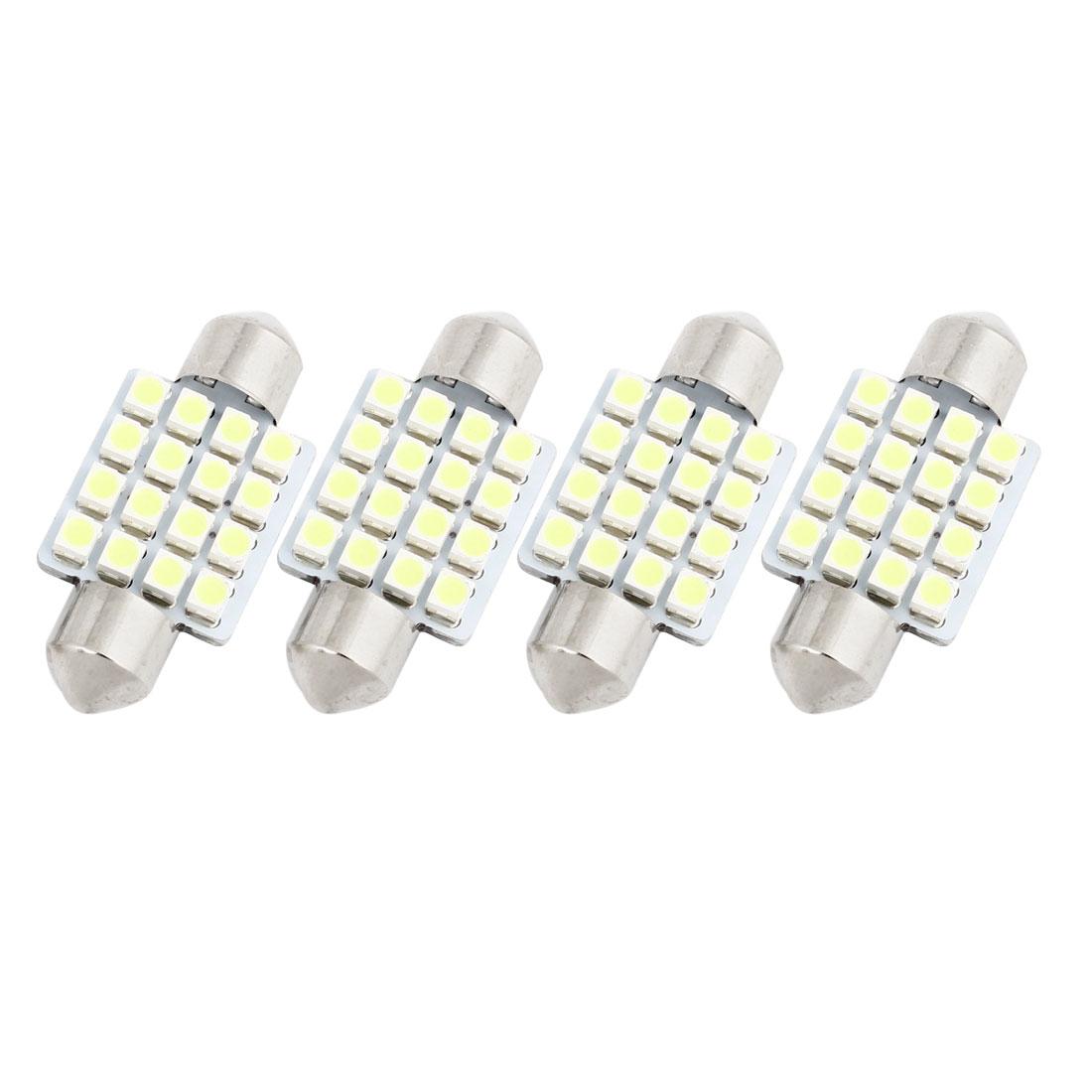 "4PCS 36mm 16-SMD 1.50"" 3528 1210 LED White Festoon Dome Map Light 6423 Internal"
