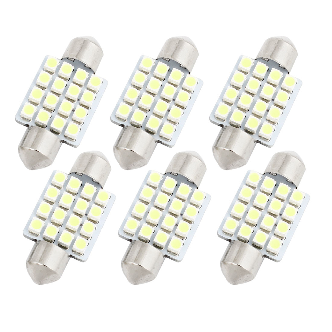 6pcs 36mm 3528 SMD 16-LED Festoon Map Reading Light Lamp White DE3425 Internal
