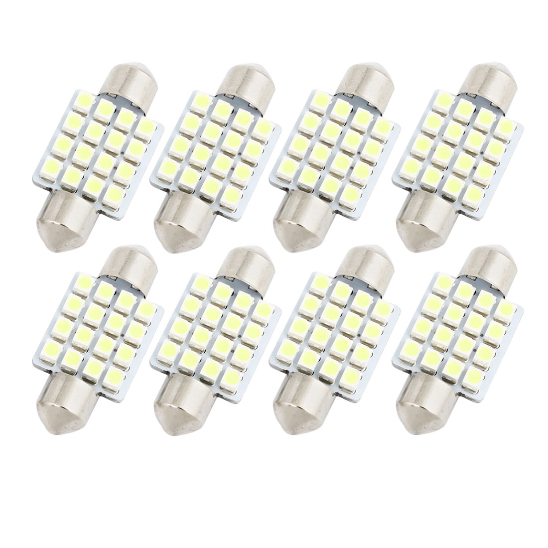 "8 Pcs 36mm 1.5"" 16-SMD 1210 White LED Festoon Dome Light DE3423 6418 Internal"