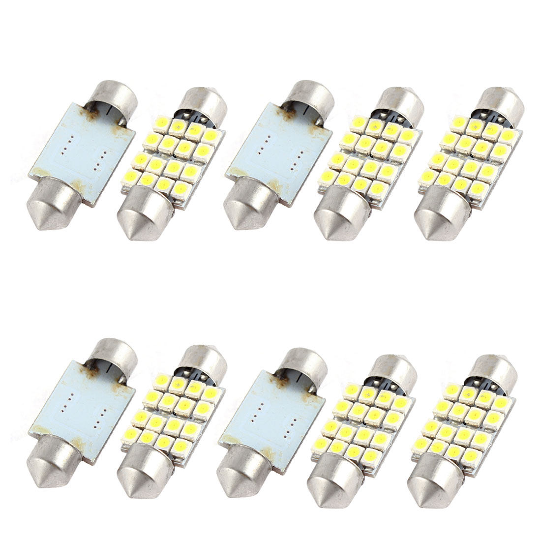 "10PCS 36mm 16-SMD 1.50"" 3528 1210 LED White Festoon Dome Map Light 6423 Internal"