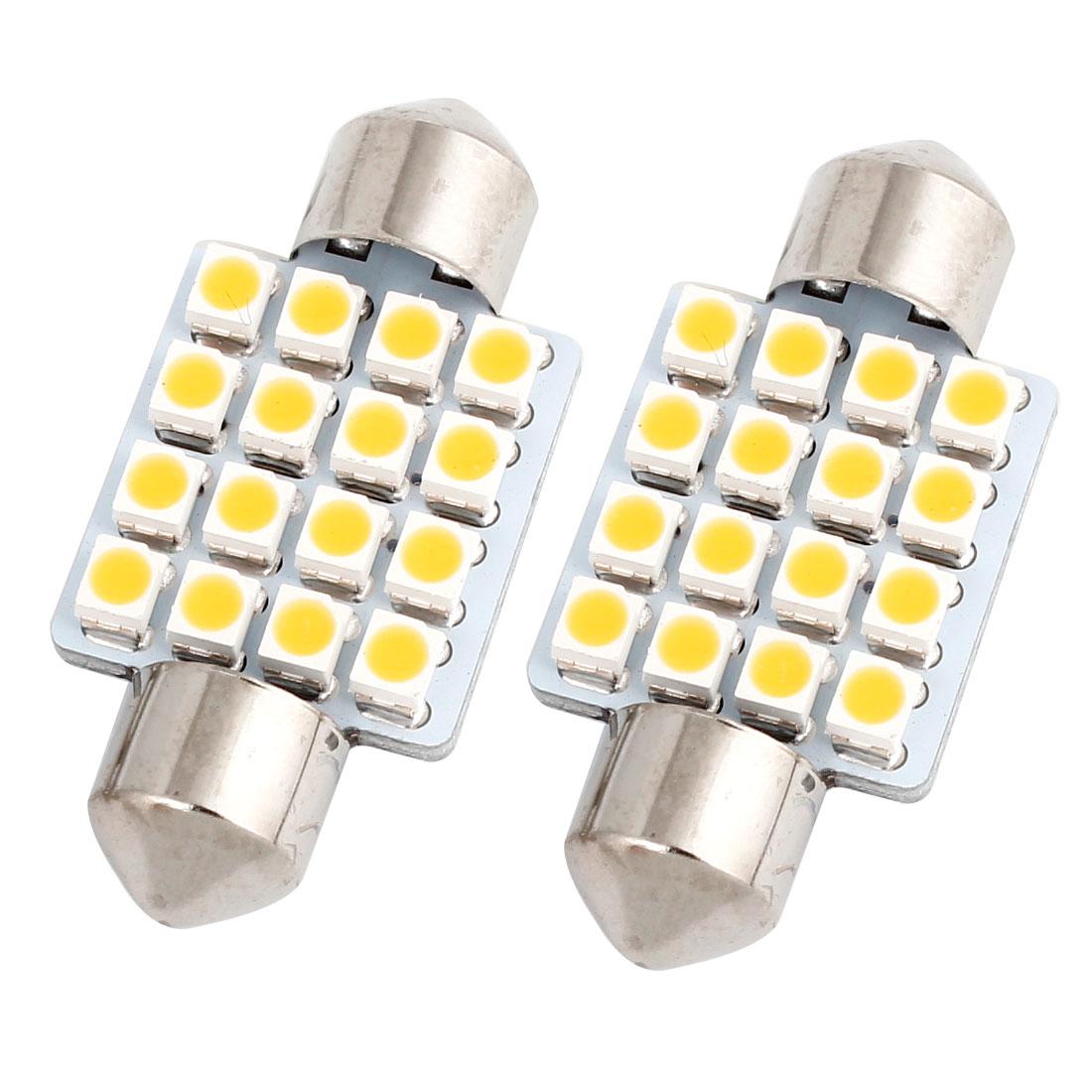 "2PCS 36mm 16-SMD 1.50"" 1210 LED Warm White Festoon Dome Light Lamp 6411 Internal"