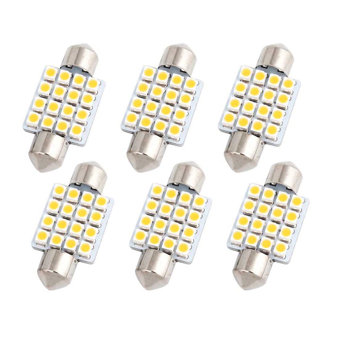 6pcs 36mm 3528 SMD 16-LED Festoon Map Reading Light Warm White DE3425 Internal