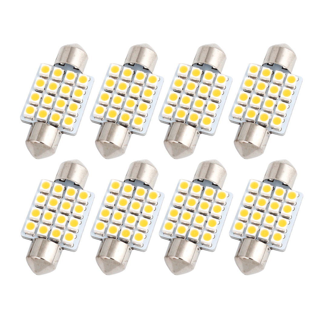 "8 Pcs 36mm 1.5"" 16LED 1210 SMD Warm White Festoon Dome Map Light DE3021 Internal"