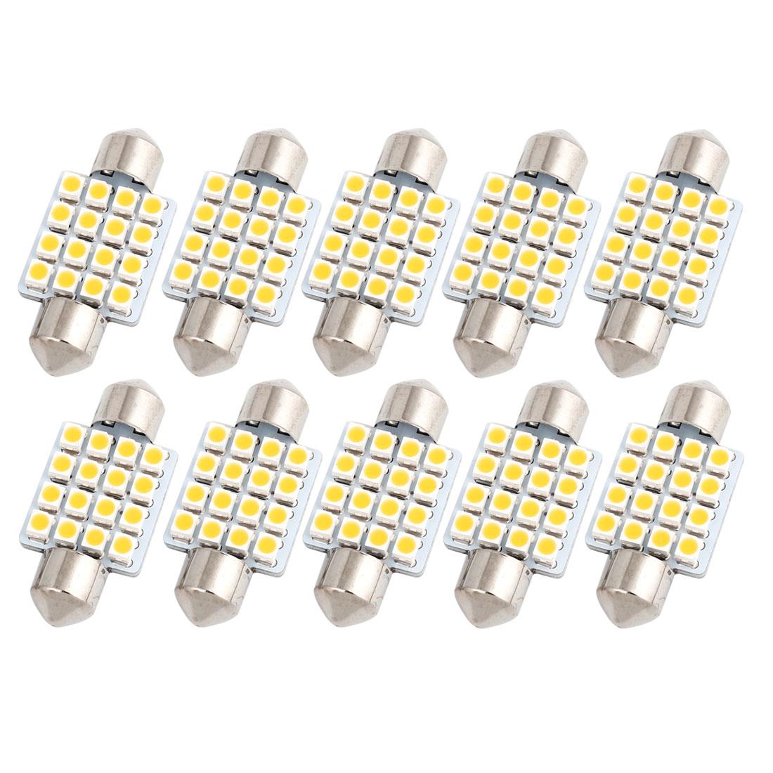 "10PCS 36mm 16-SMD 1.5"" 1210 LED Warm White Festoon Dome Light Lamp 6411 Internal"