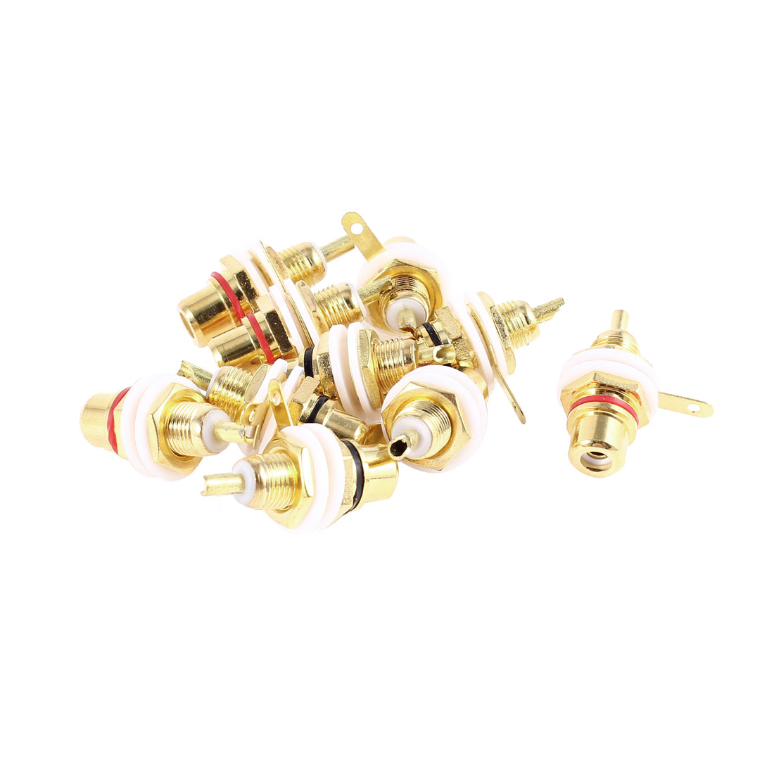 10pcs RCA Female Jack Panel Mount Chassis Audio Socket Bulkhead Connector