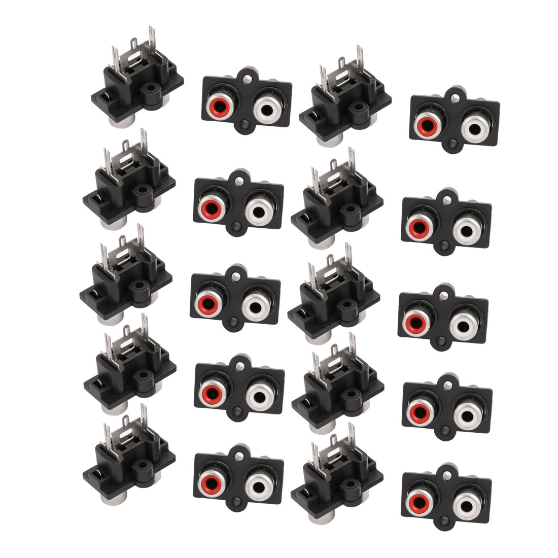 20 Pcs Panel Mount 2 RCA Female Outlet AV Concentric Socket Connector