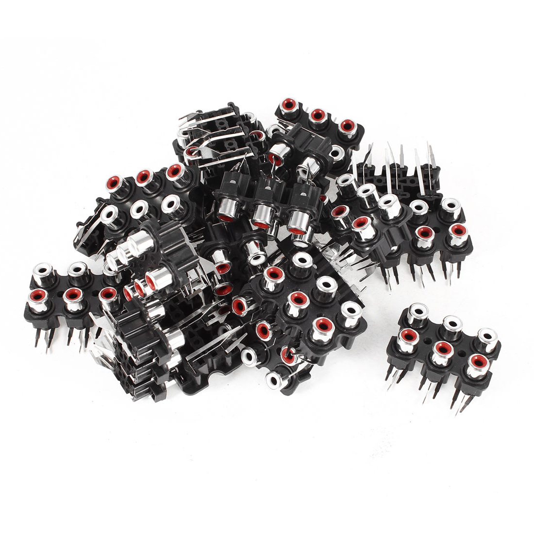 20 Pcs 6-Female RCA PCB Mount Outlet Jack Connector Socket Black